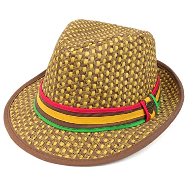 Trendy Apparel Shop Two Tone Paper Woven Straw Fedora Hat With Rasta Band -  Tan at Amazon Men s Clothing store  e4a0093a2a95