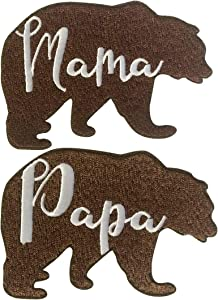 Parent Bear Negative Space Text Silhouette - Iron on Embroidered Patch Applique (Mama & Papa Bear)