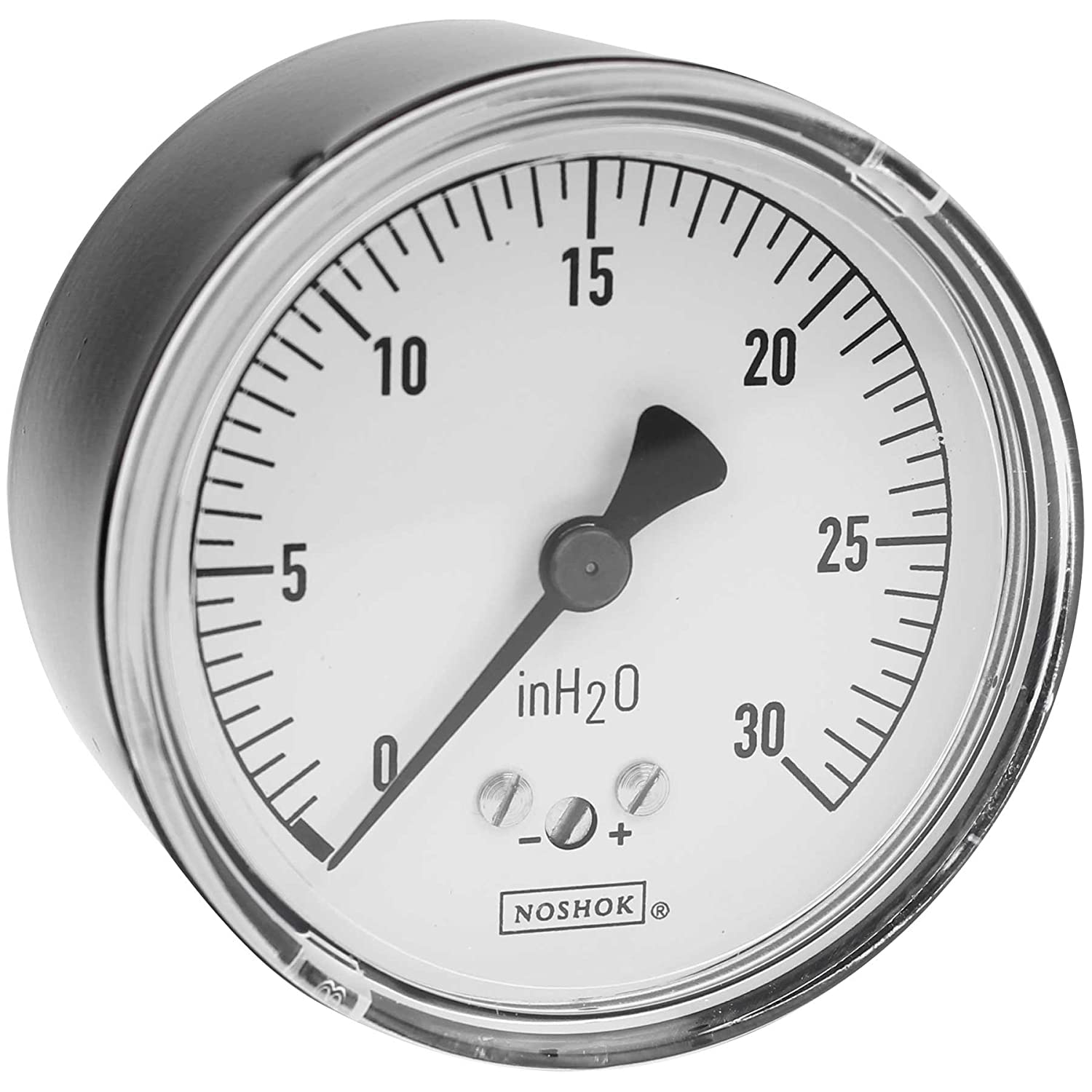 NOSHOK 200 Series Steel Dry Dial Indicating Low Pressure Diaphragm Gauge with Back Mount, 2-1/2