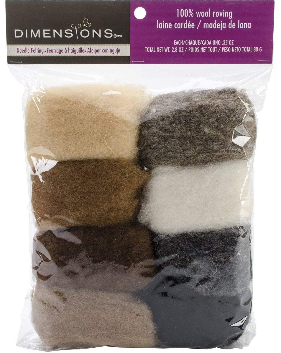 8 pack 80g Тhrее Pаck Dimensions Needlecrafts Natural Earth Tone Wool Roving for Needle Felting