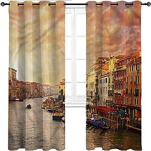 Interestlee Farmhouse Curtains, Scenery Grommet Drapes for Kitchen Cafe Decor, Italian Venezia Image Set of 2 Panels, 108 Width x 84 Length