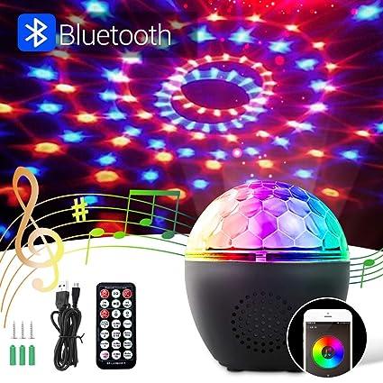 BACKTURE Luces Discoteca, Iluminación de Escenarios Bluetooth con Control de Sonido Rotating, 16 Colores Focos para Iluminación de Escenarios, Eventos ...