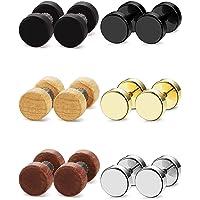 sailimue 6 Pairs Stainless Steel Wooden Ear Stud Earrings for Men Women Barbell Piercing Earrings 6MM 8MM