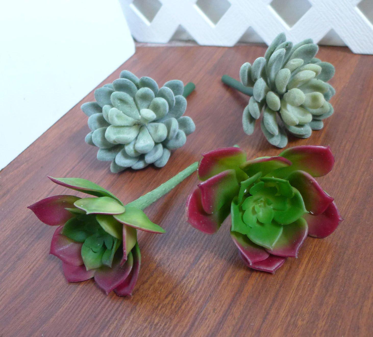 4 Artificial Succulents Plants Snow Ball Lotus Home Garden Landscape