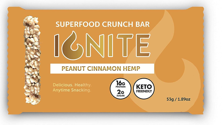 Ignite Superfood Protein Crunch Bars – Peanut Cinnamon Hemp Flavor Healthy Snack Bar – High Quality 16g Protein – Gluten, Soy & Grain Free – Prebiotic Digestive Support – Keto Friendly
