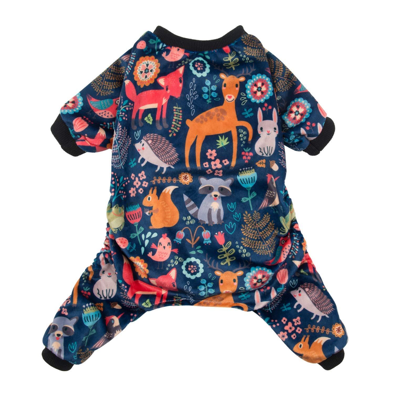 CuteBone Dog Pajamas Forest Family Dog Apparel Dog Jumpsuit Pet Clothes Pajamas Coat Xmas P75L