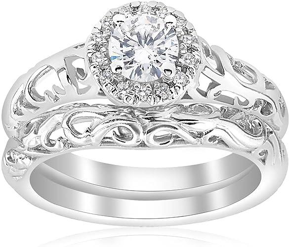 Amazon Com 5 8ct Round Diamond Vintage Engagement Wedding Ring Set 14k White Gold Jewelry
