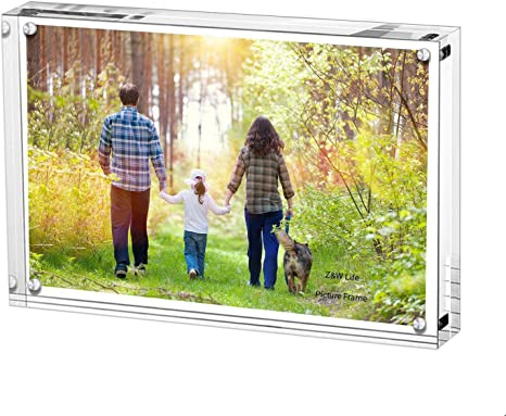 Transparent 6in Photo Frame Clear View Acrylic Block Picture Photography Set SP
