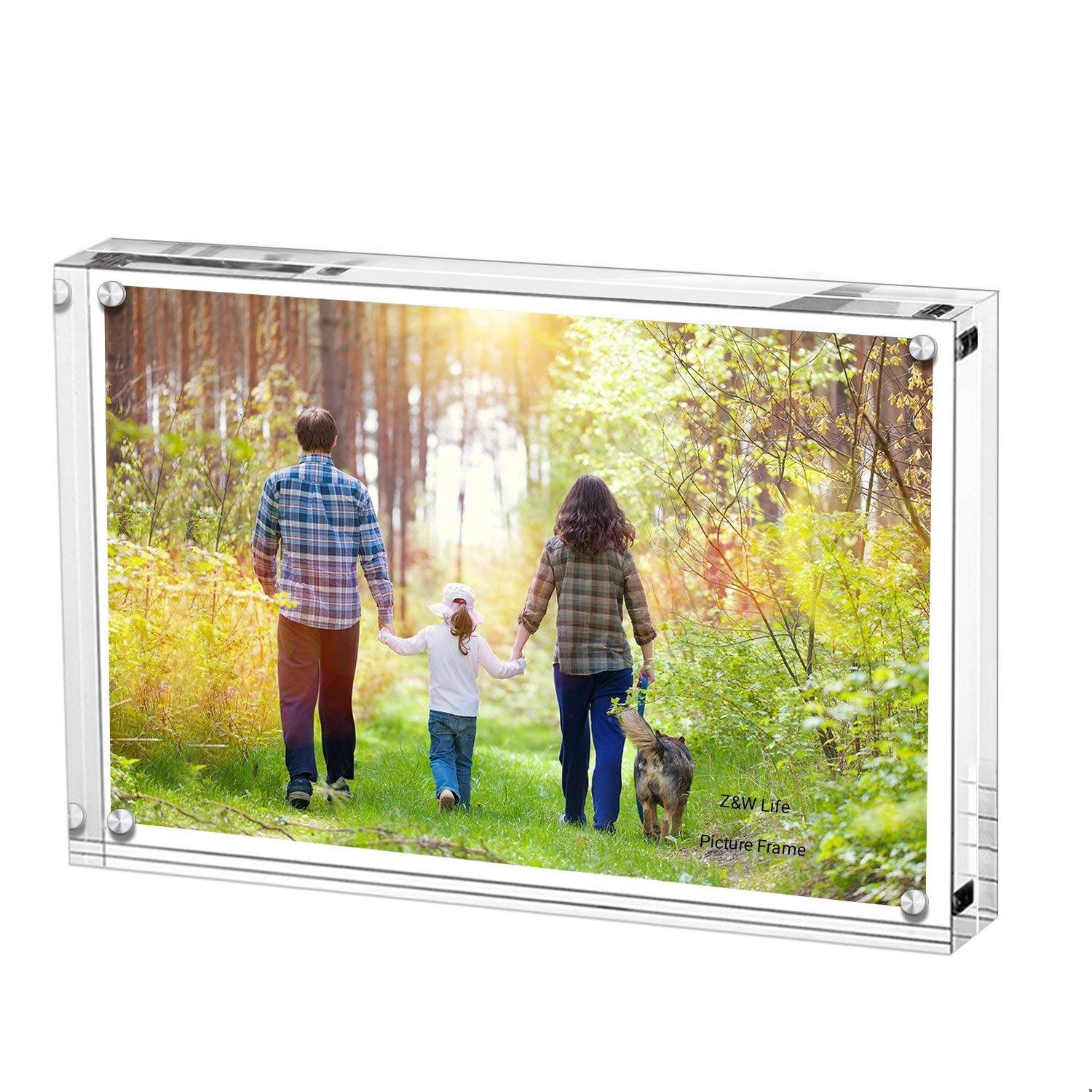 Z&W Life Acrylic Picture Frames, Stand with Magnets, Hold 8 x 10 Inches Pictures, Double Sided Block Set, Desktop Frameless, 10mm +10mm Thickness Transparent (8 x 10 inches)