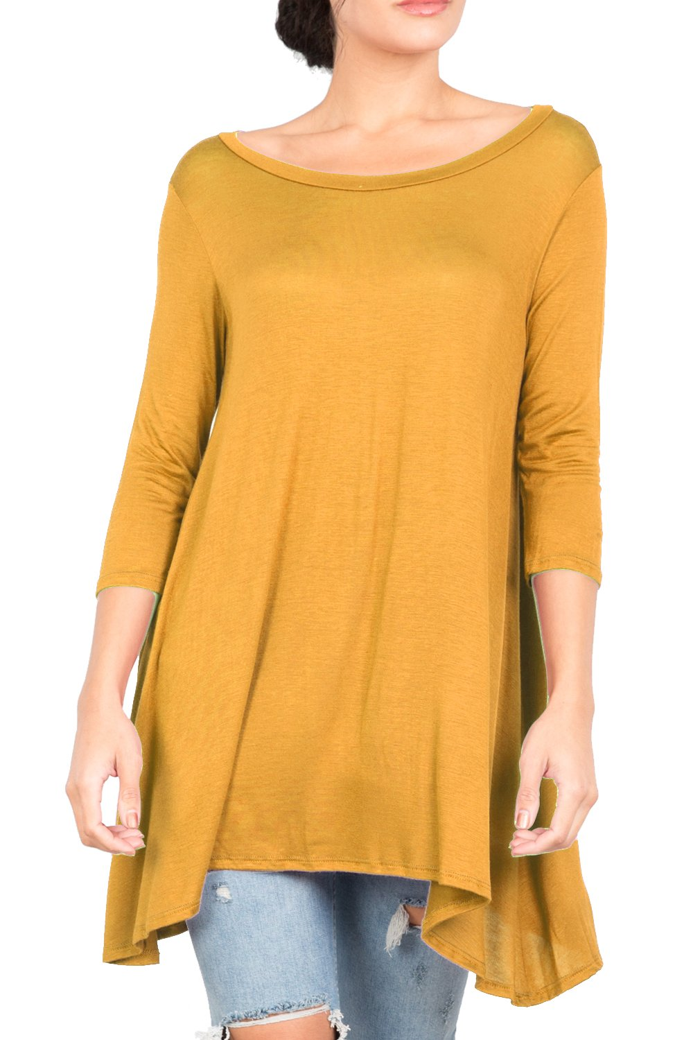 Love In T2411 3/4 Sleeve Round Neck Relaxed A-Line Tunic T Shirt Top Mustard L