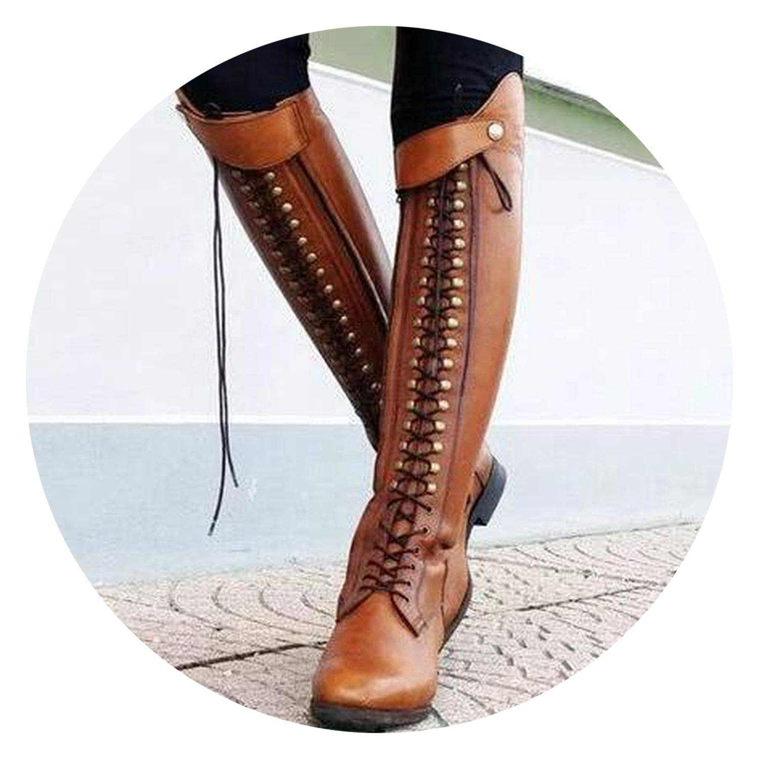 SmarketL High end Trendy-Nicer Knee high Motorcycle Boots lace up Martin Boots Woman giator Sapato Booties