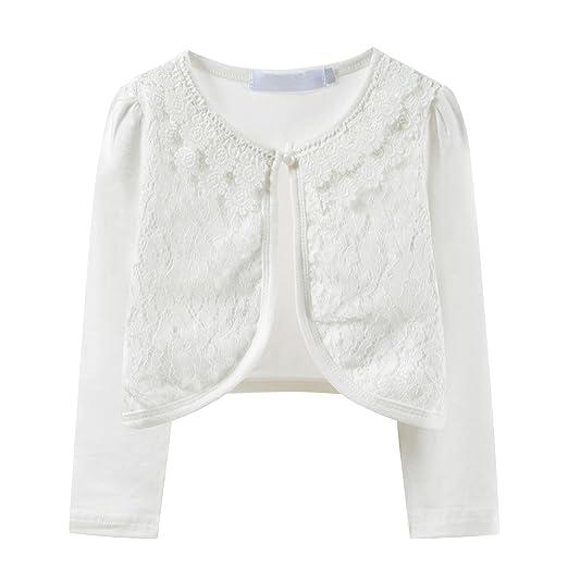 b9e43097bf47 Amazon.com  Ourlove Fashion Girls  Long Sleeve Lace Bolero Cotton ...