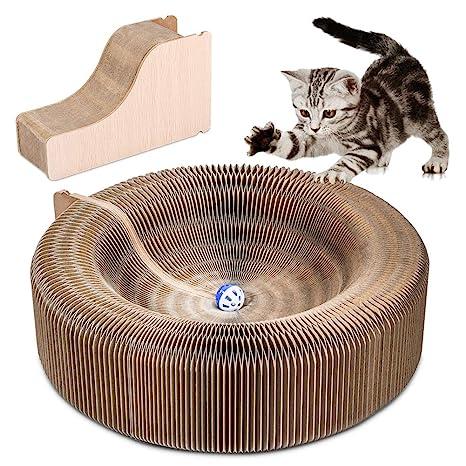 Pssopp Tablero rascador para Gatos, Papel Corrugado Plegable Gato rascador Garras de Gato Tablero Gatito