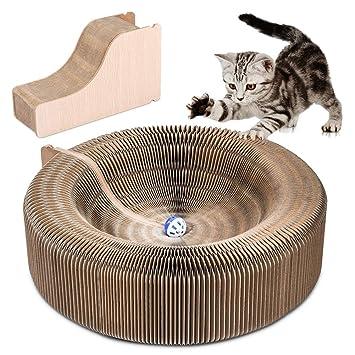 YOUTHINK Cat Scratcher Salón Plegable cartón Scratcher Juguete con Tinkle Ball y Catnip portátil de Alta
