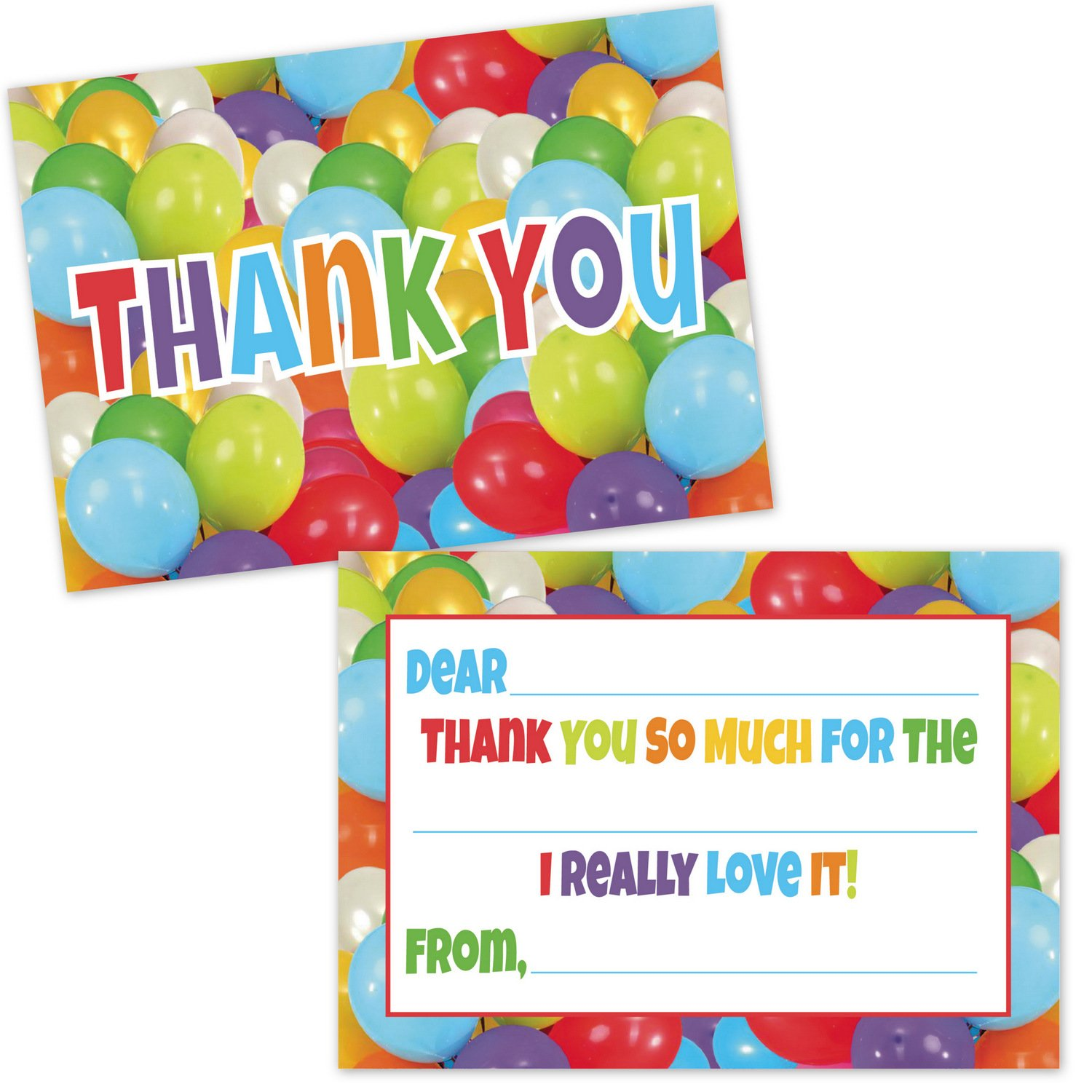 Colorful Party Balloons Fill in the Blank Thank You Cards for Kids 20 Count with Envelopes Thank You Notes for Boys and Girls