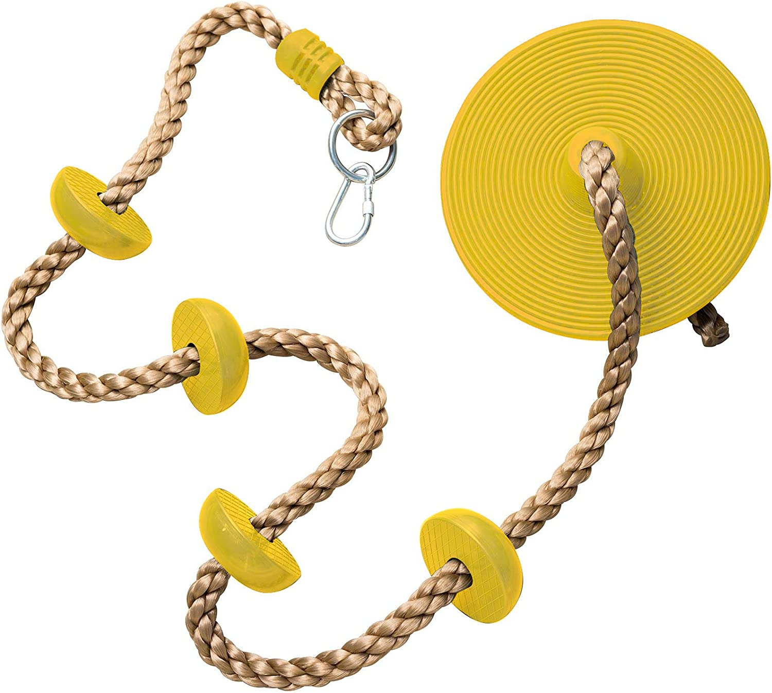 CCTRO Climbing Rope with Platforms and Disc Swing Seat Green - Playground Accessories(Yellow): Toys & Games