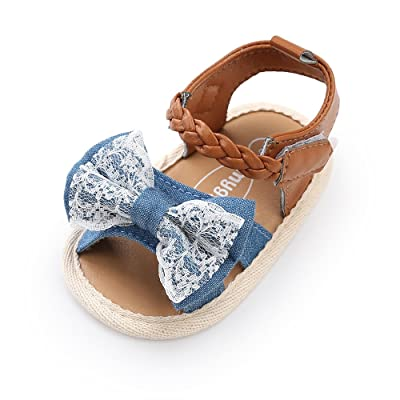 Antheron Baby Girls Canvas Sandals Soft Sole Infant Princess Flats Bowknot Toddler Summer Walking Shoes