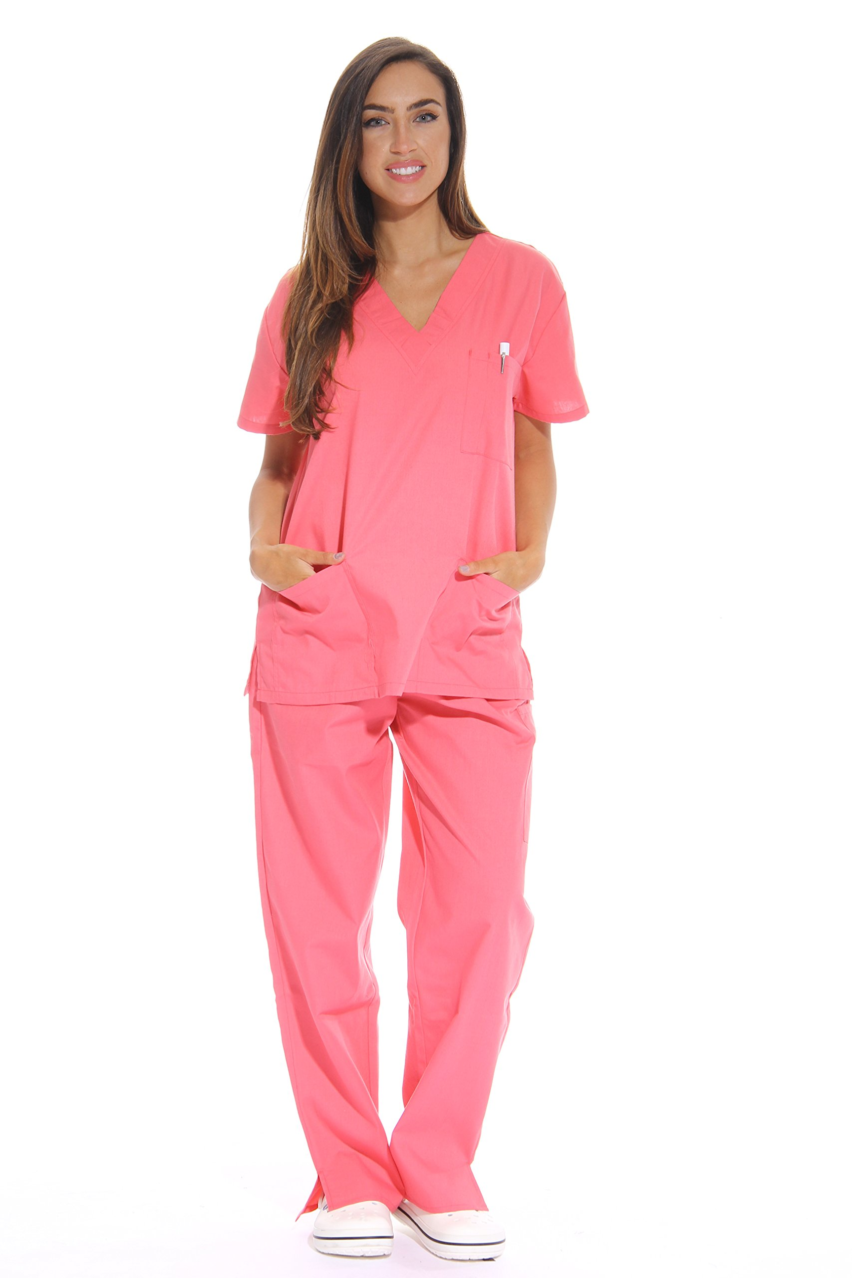 Just Love Women's Scrub Sets Six Pocket Medical Scrubs (V-Neck With Cargo Pant), Coral, 3X