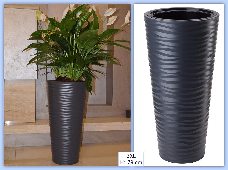 Macetero MELTOM Slim redondo efecto 3D 40 x 79 cm Color: Antracita con inserto extra/íble ondas