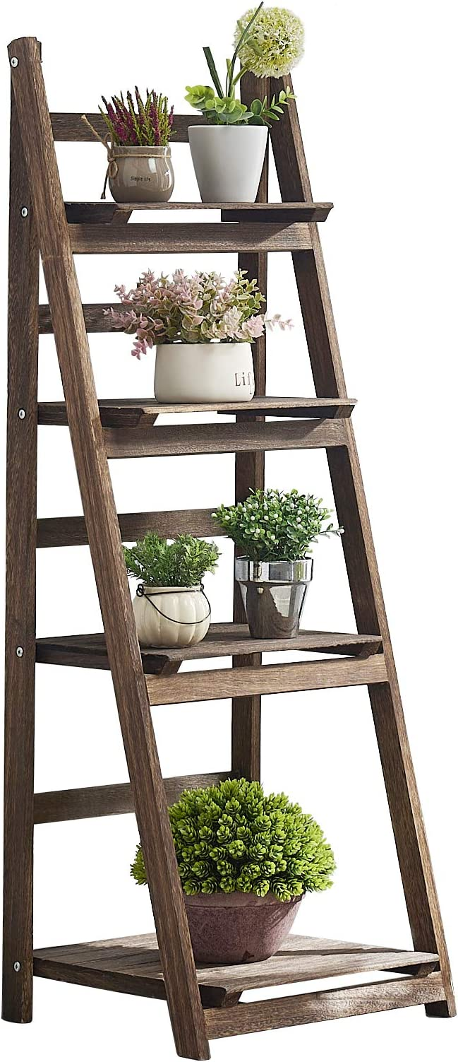 Amazon Com Rhf 44 Foldable Plant Shelf Plant Stand Indoor Flower Pot Holder Flower Pot Ladder Folding A Frame Display Shelf Patio Rustic Wood Stand With Shelves 4 Tier Stand Outdoor Pot