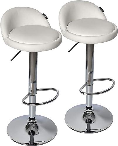 Fullwatt 2 PCS Adjustable Stool PU Leather Adjustable Barstools Chairs Adjustable Swivel Bar Stool