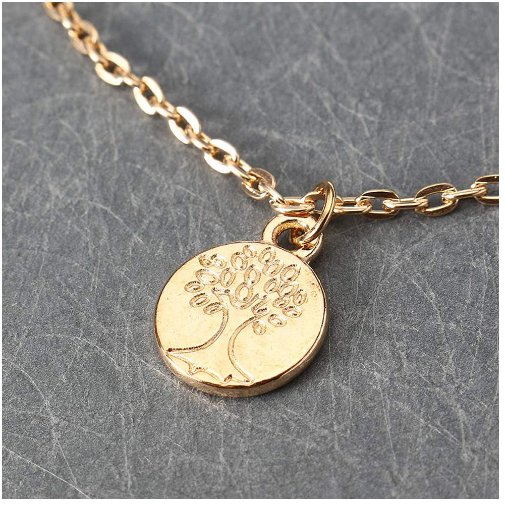 Hobbyant Vintage Tree of Life Pendant Necklace Gold Multilayer Chain Womens Jewelry Gold