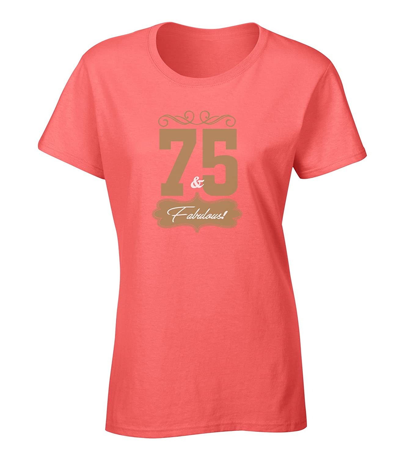 Buy Seventy Five And Fabulous Happy 75th Birthday Gift Bundle With Ladies T Shirt 10 Party Balloons Coral Extra Large Shop Top Fashion Brands Clothing