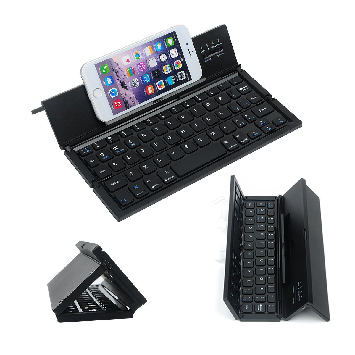 LEANINGTECH Portable Foldable Bluetooth Keyboard Aluminum Metal Collapsible Keypad with Kickstand Holder Phone Holder for iPhone, iPad, Samsung, Android, Windows Device-Black by LEANINGTECH (Image #2)