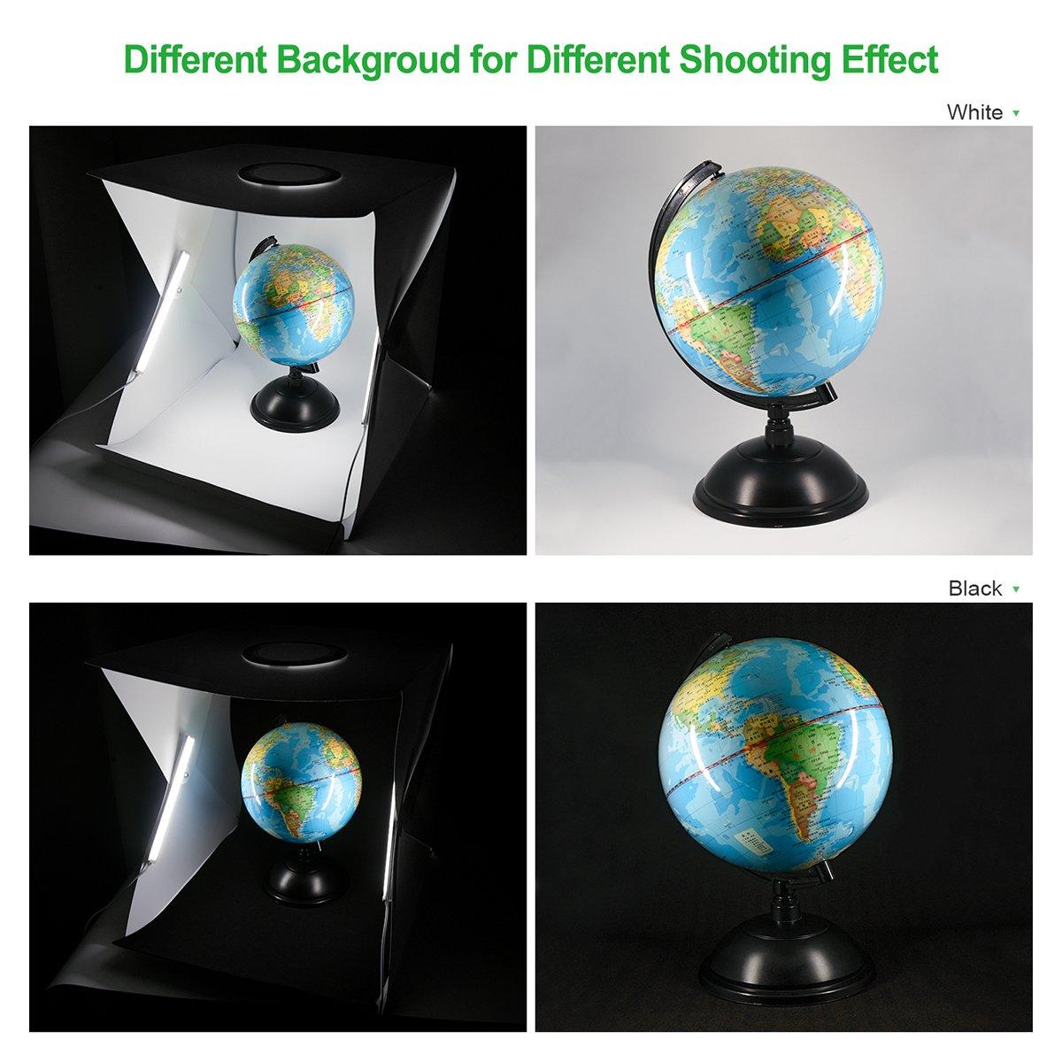 Zecti Caja de fotografía 40x40cm Caja de luz regulable Tienda fotográfica portátil con 2 tiras de luces LED ajustables y 2 telones de fondo: Amazon.es: ...