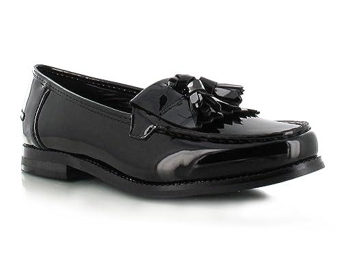 Para Dama Color Negro Plano Trabajo Oficina Escuela Con Flecos Cubierta Número Zapato - negro patente, 41: Amazon.es: Zapatos y complementos