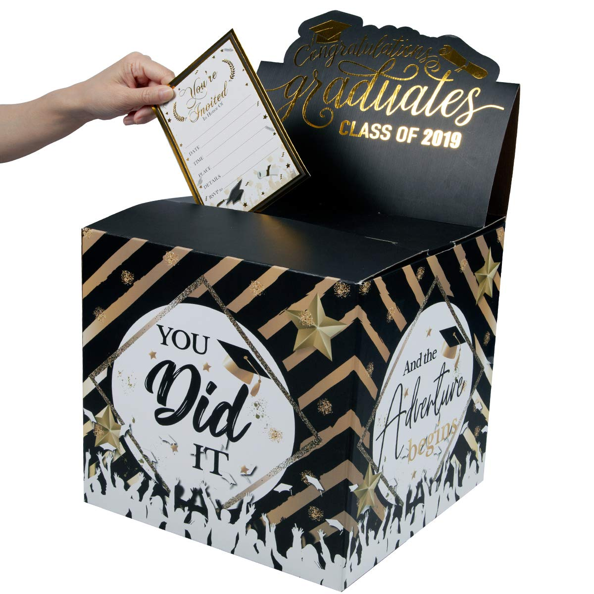 Graduation Card Box Holder - Graduation 2019 Party Favor Durable Supplies - You Did It & Adventures Begins Party Decorations by PartyShow (Image #2)