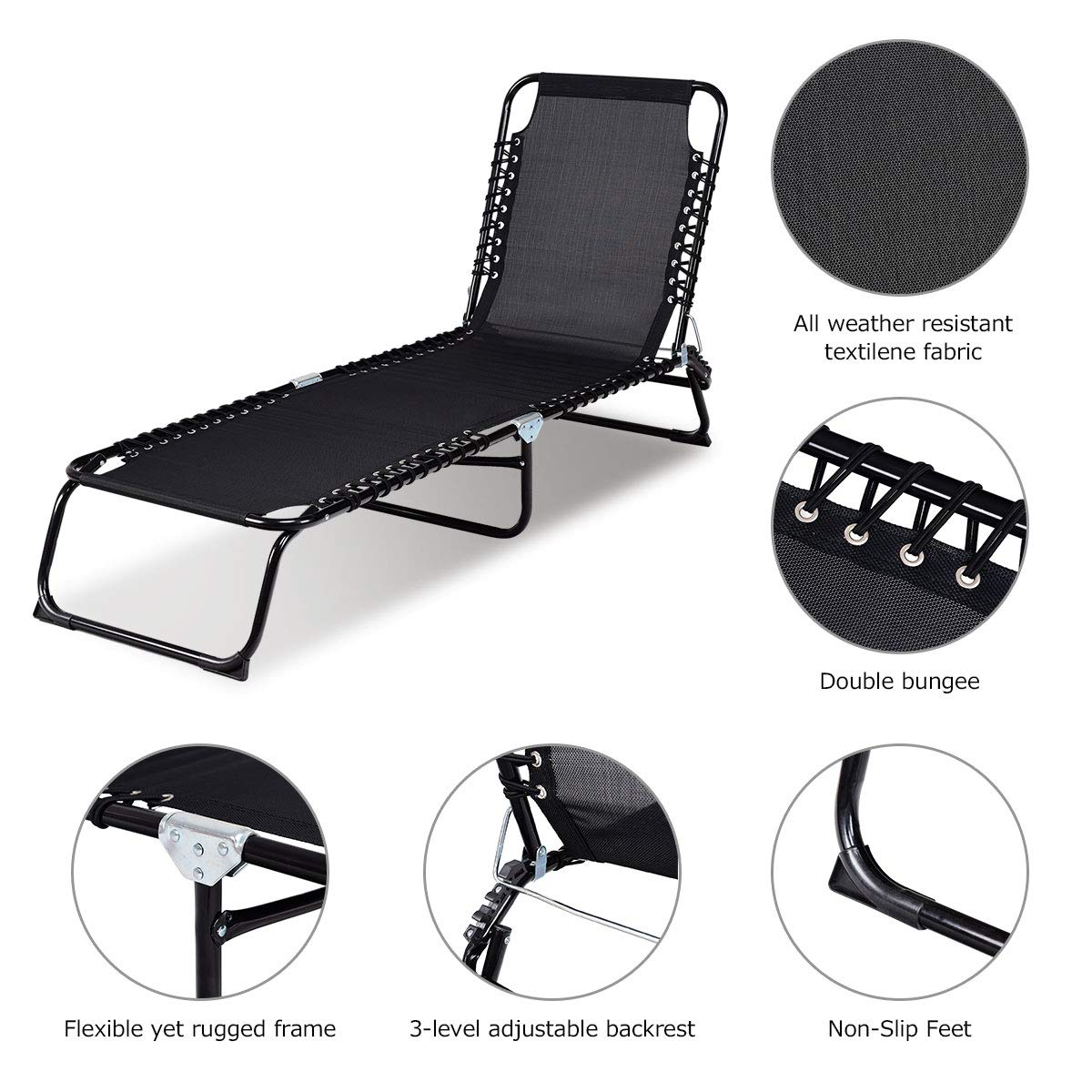 Amazon.com: GiantexAdjustable - Silla reclinable de chaise ...