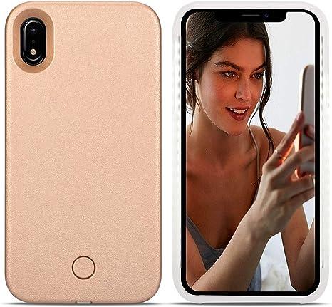 iPhone caso LED X Avkkey iPhone X selfie luz iPhone caso ideal para un brillante selfie y FaceTime iluminado luz Up carcasa para iPhone X Oro rosa