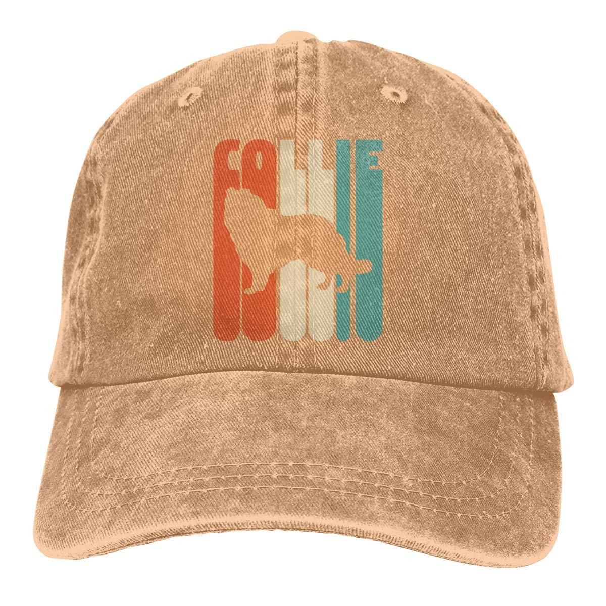 Men Women Adjustable Cotton Denim Baseball Cap Vintage Collie Dad Hat