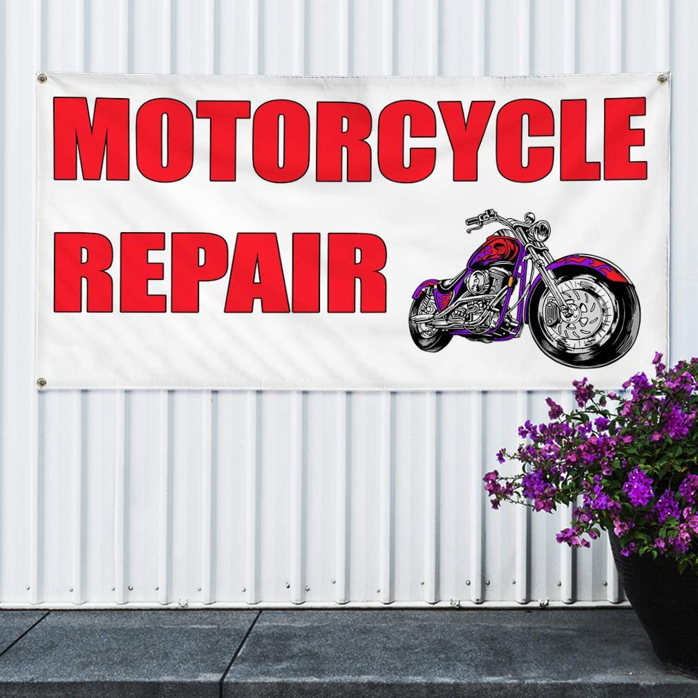 6 Grommets 32inx80in Set of 2 Multiple Sizes Available Vinyl Banner Sign Motorcycle Repair White Red3 Business Marketing Advertising White