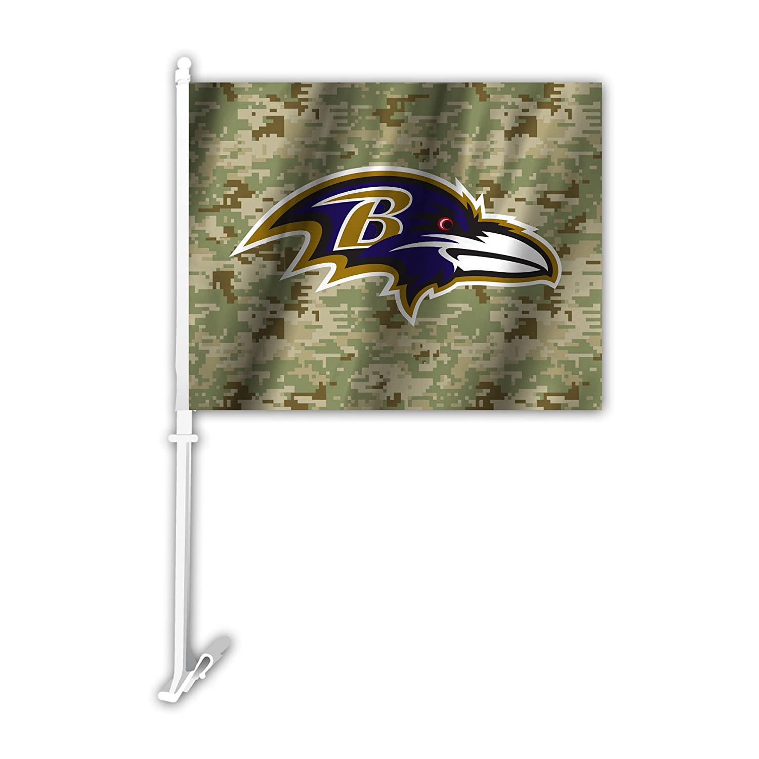 NFL Baltimore Ravens Camo Car Flag, Green, One Size Fremont Die 991