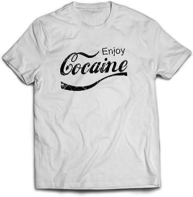 Cocaína Tomas Gracioso Camisetas - algodón, Rojo, 100% cardado 100% algodón, Hombre, Large: Amazon.es: Ropa y accesorios
