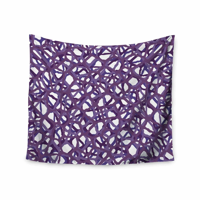 68 x 80 Wall Tapestry Kess InHouse Trebam Vino Purple White Modern Vector