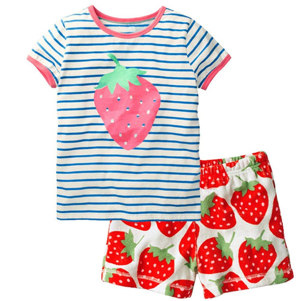 Toddler Kids Summer Cotton Short Sleeve Clothing Sets(Red, 90CM)
