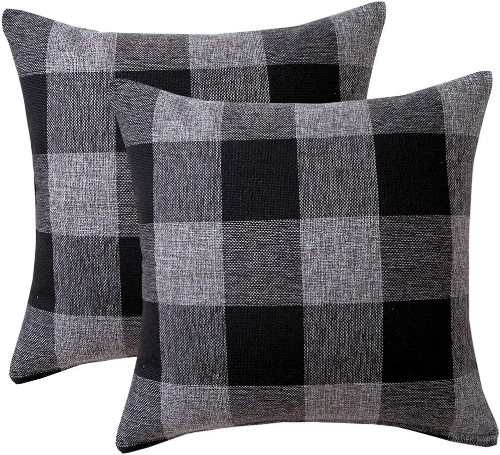 Vanky Set of 2 Buffalo Check Plaid Pillows Farmhouse Decor Christmas Pillow Covers Fall Outdoor Pillows Outside Porch Pillows Cotton Linen Throw Pillow Covers Black Gray 18 x 18 Inches