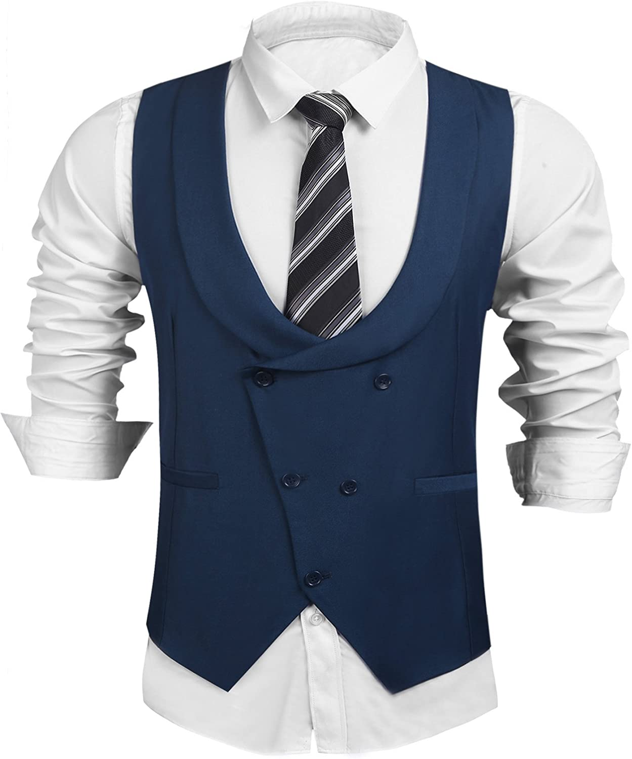 COOFANDY Men's Formal Suit Vest Business Waistcoat Double Breasted U-Neck Shawl Collar Slim Fit Waistcoat for Suit Tuxedo