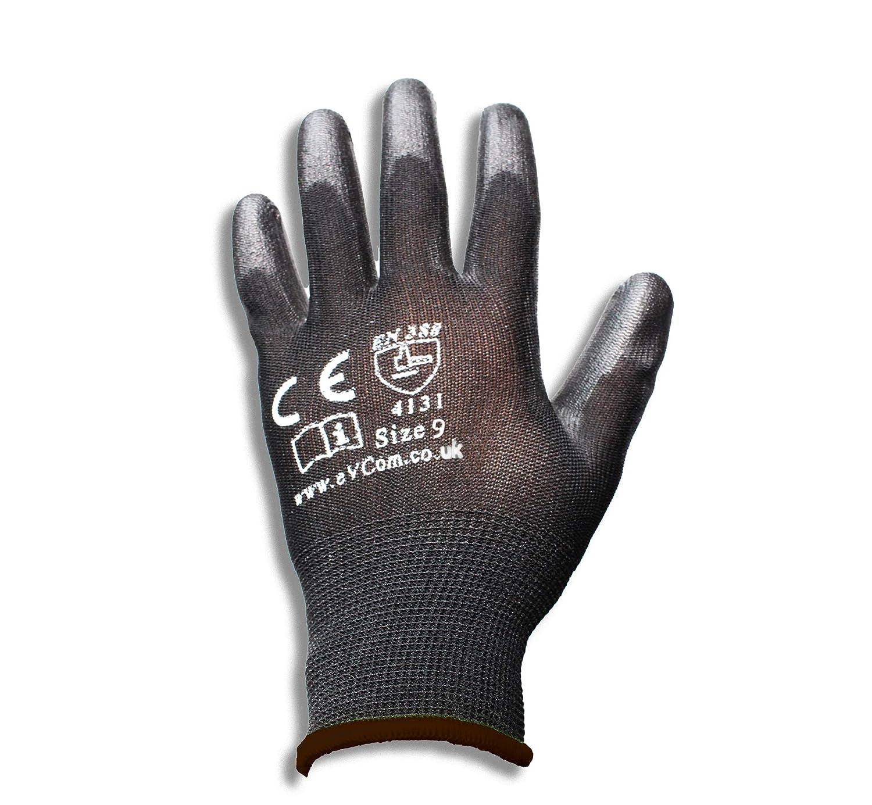 eVCom/® 12 Unidades Color Negro Ideal para constructores Trabajadores de la construcci/ón o Trabajos de jardiner/ía mec/ánicos Guantes de Trabajo de Nailon Recubiertos de Poliuretano