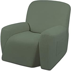 Easy-Going Oversized Recliner Stretch Sofa Slipcover Sofa Cover 1 Piece Furniture Protector Couch Soft with Elastic Bottom Kids,Polyester Spandex Jacquard Small Checks(Oversize Recliner,Greyish Green)