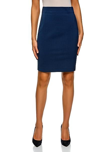 oodji Collection Mujer Falda Recta de Cintura Alta, Azul, ES 36 / XS