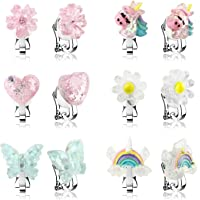 6Pairs Crystal Unicorn Clip On Earrings for Little Girls, Rainbow Earrings Butterfly Earrings Toddler Girls Dress Up Jewelry