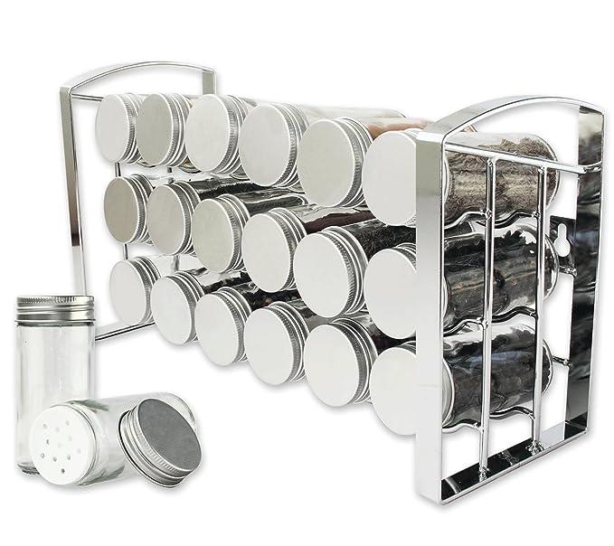 LEANDER DESIGN Gewürzregal für Küchenschrank und Arbeitsfläche, 18 ...