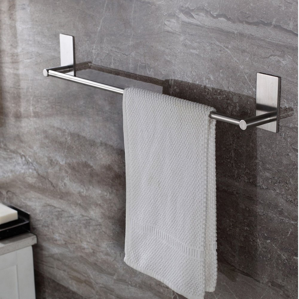 Bathroom Towel Bar 16inch, Easy Install with Self-Adhesive, NO Drilling on Walls, Premium SUS304 Stainless Steel - Brushed by Songtec (Image #2)