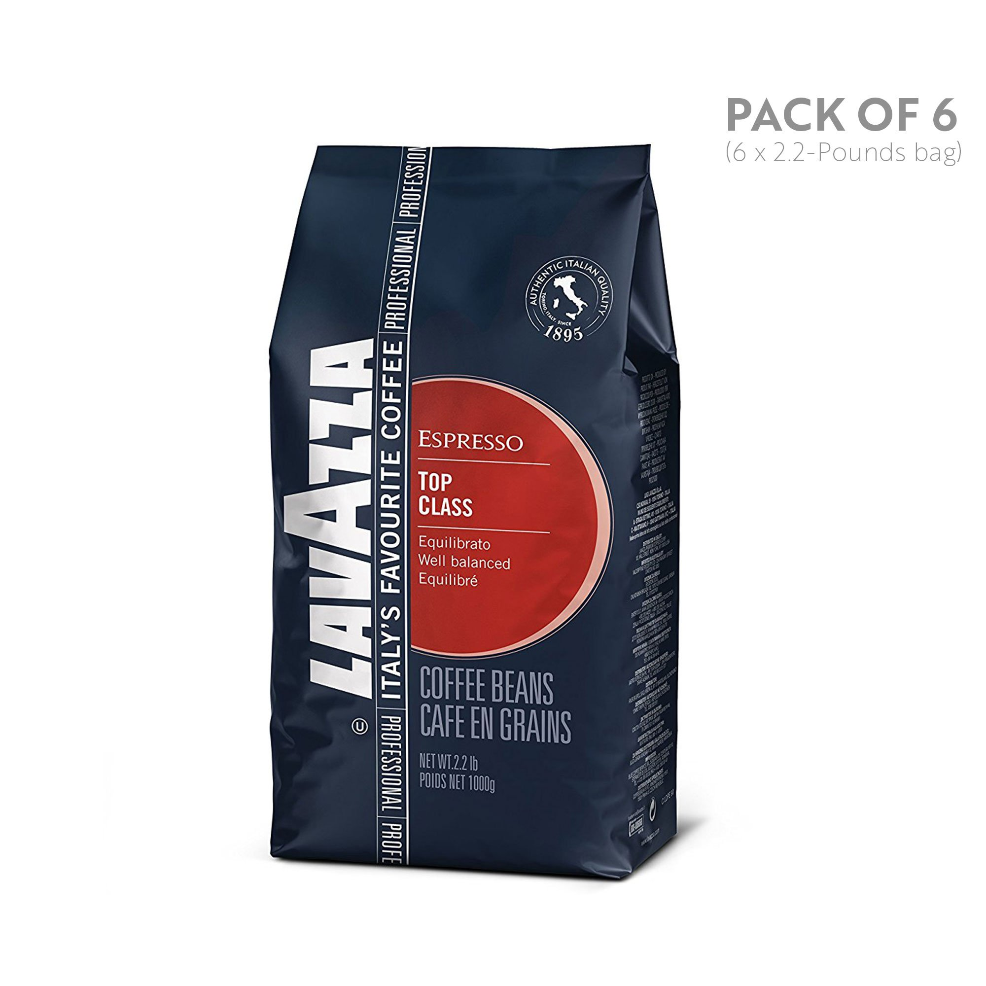 Lavazza Top Class Whole Bean Coffee Blend, Medium Espresso Roast, 2.2 Pound, 6 Count