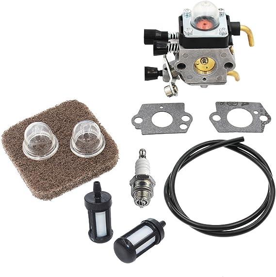 Hippotech C1Q-S97 carburador y Filtro de Aire con Kit de realimentaci/ón de Combustible para cortadora de Cuerdas STIHL FS75 FS80 FS80R FS85 FS85R FS85T FS85RX