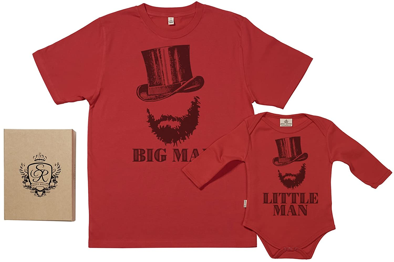 Geschenkpackung Baby Geschenkset Vater Baby Geschenkset Big Man /& Little Man 100/% Biobaumwolle Papa T-Shirt /& Baby Strampler in Geschenkbox SR